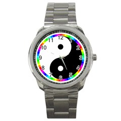 Rainbow Around Yinyang Sport Metal Watch by Nexatart