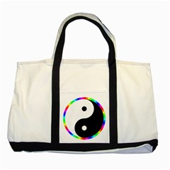 Rainbow Around Yinyang Two Tone Tote Bag by Nexatart