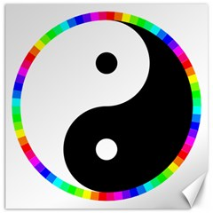 Rainbow Around Yinyang Canvas 20  X 20