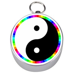 Rainbow Around Yinyang Silver Compasses by Nexatart