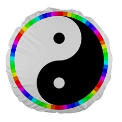 Rainbow Around Yinyang Large 18  Premium Flano Round Cushions by Nexatart
