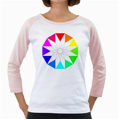 Rainbow Dodecagon And Black Dodecagram Girly Raglans by Nexatart