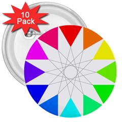 Rainbow Dodecagon And Black Dodecagram 3  Buttons (10 Pack)