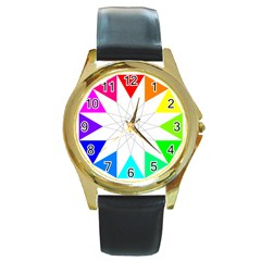 Rainbow Dodecagon And Black Dodecagram Round Gold Metal Watch