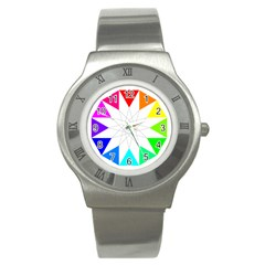 Rainbow Dodecagon And Black Dodecagram Stainless Steel Watch
