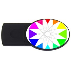 Rainbow Dodecagon And Black Dodecagram Usb Flash Drive Oval (4 Gb) by Nexatart