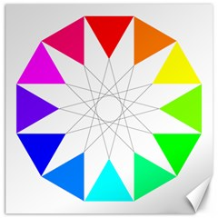 Rainbow Dodecagon And Black Dodecagram Canvas 16  X 16