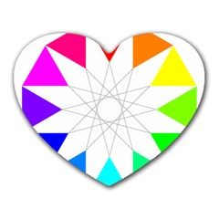 Rainbow Dodecagon And Black Dodecagram Heart Mousepads
