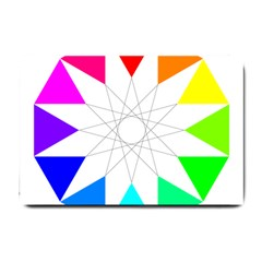 Rainbow Dodecagon And Black Dodecagram Small Doormat