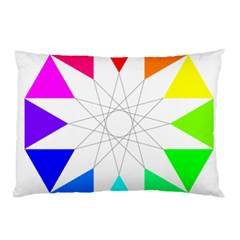 Rainbow Dodecagon And Black Dodecagram Pillow Case