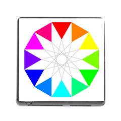 Rainbow Dodecagon And Black Dodecagram Memory Card Reader (square)