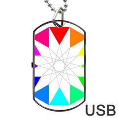 Rainbow Dodecagon And Black Dodecagram Dog Tag Usb Flash (two Sides) by Nexatart