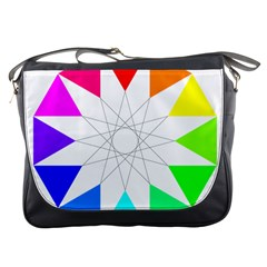 Rainbow Dodecagon And Black Dodecagram Messenger Bags