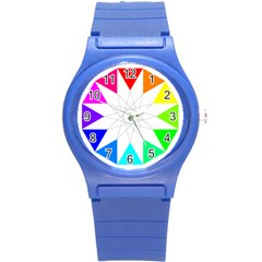 Rainbow Dodecagon And Black Dodecagram Round Plastic Sport Watch (s)