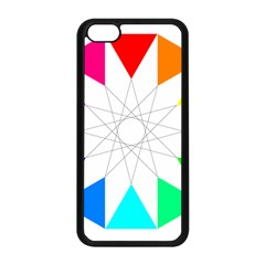 Rainbow Dodecagon And Black Dodecagram Apple Iphone 5c Seamless Case (black) by Nexatart