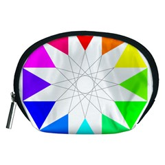 Rainbow Dodecagon And Black Dodecagram Accessory Pouches (medium)