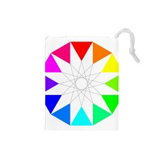 Rainbow Dodecagon And Black Dodecagram Drawstring Pouches (small)  by Nexatart