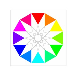 Rainbow Dodecagon And Black Dodecagram Small Satin Scarf (square) by Nexatart