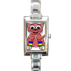 Cartoon Cat In Rainbow Socks Rectangle Italian Charm Watch