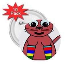 Cartoon Cat In Rainbow Socks 2 25  Buttons (10 Pack)  by Nexatart