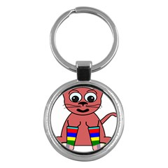 Cartoon Cat In Rainbow Socks Key Chains (round)  by Nexatart