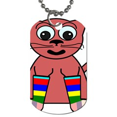 Cartoon Cat In Rainbow Socks Dog Tag (two Sides) by Nexatart