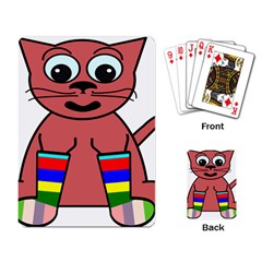 Cartoon Cat In Rainbow Socks Playing Card by Nexatart