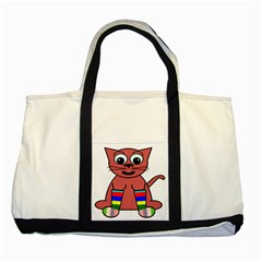 Cartoon Cat In Rainbow Socks Two Tone Tote Bag
