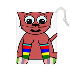 Cartoon Cat In Rainbow Socks Drawstring Pouches (large)