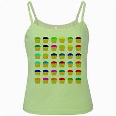 Colorful Cupcakes Pattern Green Spaghetti Tank