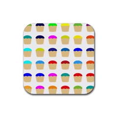 Colorful Cupcakes Pattern Rubber Square Coaster (4 Pack)  by Nexatart
