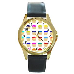 Colorful Cupcakes Pattern Round Gold Metal Watch