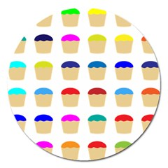 Colorful Cupcakes Pattern Magnet 5  (round)