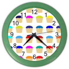 Colorful Cupcakes Pattern Color Wall Clocks by Nexatart