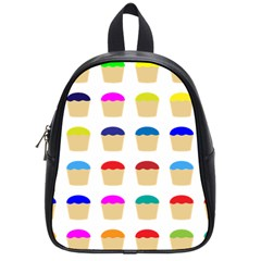 Colorful Cupcakes Pattern School Bags (small)  by Nexatart
