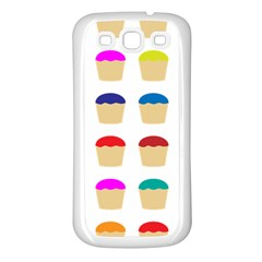 Colorful Cupcakes Pattern Samsung Galaxy S3 Back Case (white)