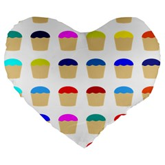 Colorful Cupcakes Pattern Large 19  Premium Flano Heart Shape Cushions by Nexatart