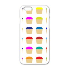 Colorful Cupcakes Pattern Apple Iphone 6/6s White Enamel Case by Nexatart