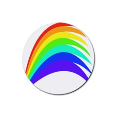Rainbow Rubber Round Coaster (4 Pack)  by Nexatart