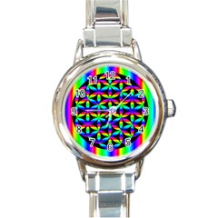 Rainbow Flower Of Life In Black Circle Round Italian Charm Watch by Nexatart
