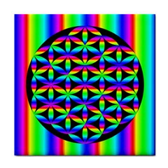 Rainbow Flower Of Life In Black Circle Tile Coasters
