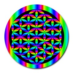 Rainbow Flower Of Life In Black Circle Round Mousepads