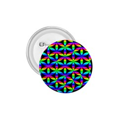 Rainbow Flower Of Life In Black Circle 1 75  Buttons by Nexatart