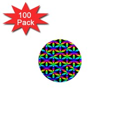 Rainbow Flower Of Life In Black Circle 1  Mini Magnets (100 Pack)  by Nexatart