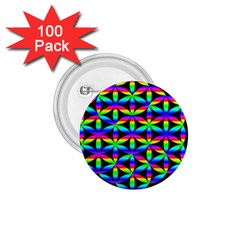 Rainbow Flower Of Life In Black Circle 1 75  Buttons (100 Pack)  by Nexatart