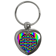Rainbow Flower Of Life In Black Circle Key Chains (heart)