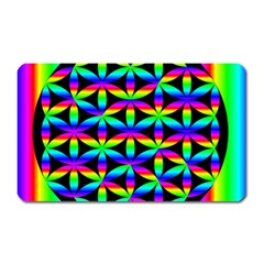 Rainbow Flower Of Life In Black Circle Magnet (rectangular)