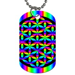 Rainbow Flower Of Life In Black Circle Dog Tag (two Sides)