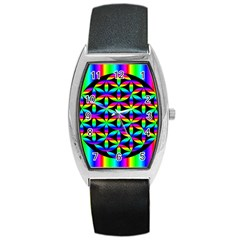 Rainbow Flower Of Life In Black Circle Barrel Style Metal Watch by Nexatart