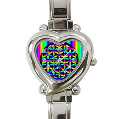 Rainbow Flower Of Life In Black Circle Heart Italian Charm Watch by Nexatart